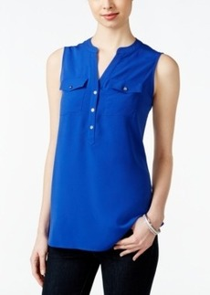 Charter Club Petite Sleeveless Split-Neck Blouse, Only at Macy's