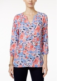 Charter Club Floral-Print Henley Blouse, Only at Macy's