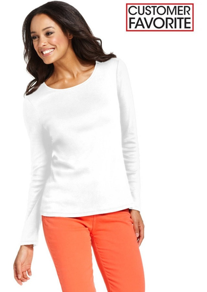 Charter Club Petite Top, Long-Sleeve Crew-Neck