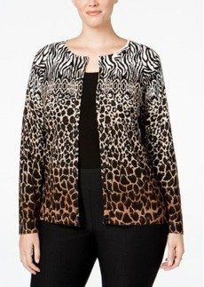 Charter Club Plus Size Animal-Print Cardigan, Only at Macy's