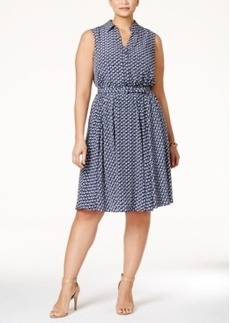 Charter Club Plus Size Boat-Print Fit & Flare Dress, Only at Macy's