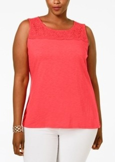 Charter Club Plus Size Crocheted-Yoke Top, Only at Macy's