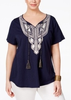 Charter Club Plus Size Embellished Peasant Top, Only at Macy's