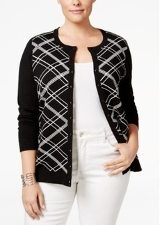 Charter Club Plus Size Embellished Plaid Cardigan, Only at Macy's