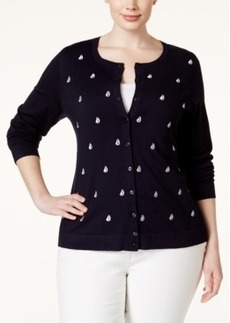 Charter Club Plus Size Embroidered Boat Cardigan Sweater, Only at Macy's