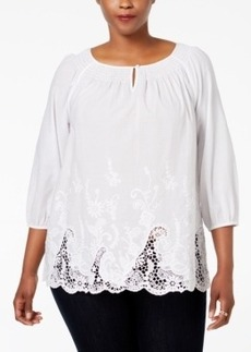 Charter Club Plus Size Embroidered-Hem Tunic, Only at Macy's