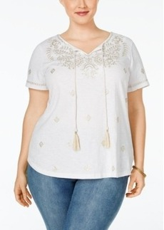 Charter Club Plus Size Embroidered Peasant Top, Only at Macy's