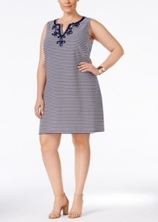 Charter Club Plus Size Embroidered Striped Shift Dress, Only at Macy's