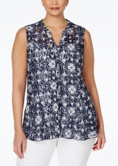 Charter Club Plus Size Floral-Lace Button-Down Blouse, Only at Macy's