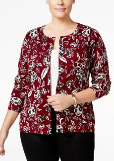 Charter Club Plus Size Floral-Print Cardigan, Only at Macy's