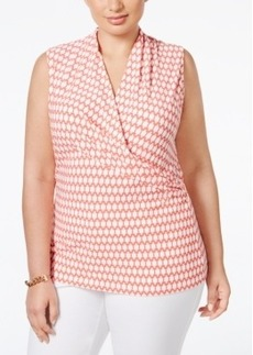 Charter Club Plus Size Geometric-Print Surplice Sleeveless Top, Only at Macy's