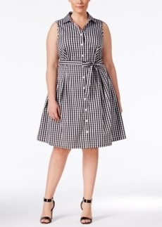 Charter Club Plus Size Gingham Fit & Flare Shirtdress, Only at Macy's