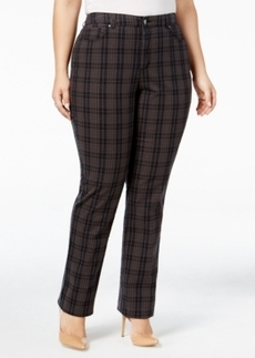 Charter Club Plus Size Lexington Tummy-Control Plaid Pants, Only at Macy's