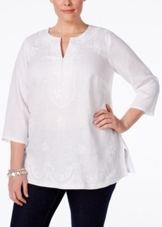 Charter Club Plus Size Linen Embroidered Tunic, Only at Macy's