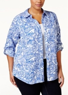 Charter Club Plus Size Linen Paisley-Print Shirt, Only at Macy's