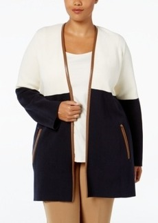 Charter Club Plus Size Milano Colorblocked Cardigan, Only at Macy's