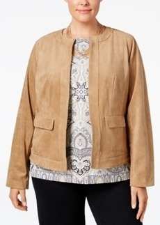 Charter Club Plus Size Open-Front Faux-Suede Jacket, Only at Macy's
