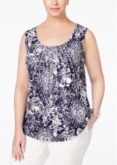 Charter Club Plus Size Paisley-Print Blouse, Only at Macy's