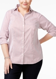Charter Club Plus Size Pinstriped Boyfriend Shirt, Only at Macy's