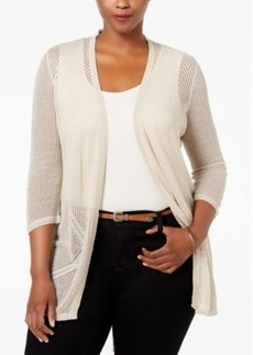 Charter Club Plus Size Pointelle Open-Front Cardigan, Only at Macy's