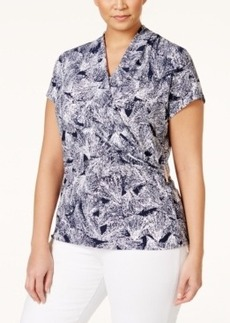 Charter Club Plus Size Printed Crossover Blouse, Only at Macy's