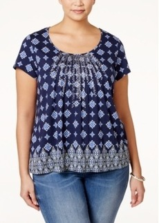 Charter Club Plus Size Printed Embroidered Top, Only at Macy's
