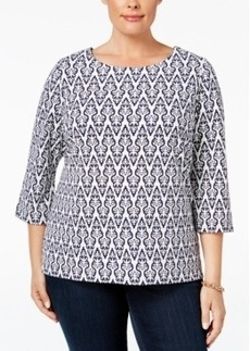 Charter Club Plus Size Printed Jacquard Top, Only at Macy's