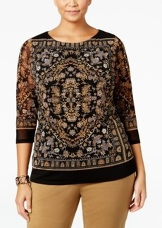 Charter Club Plus Size Printed Mesh Top, Only at Macy's