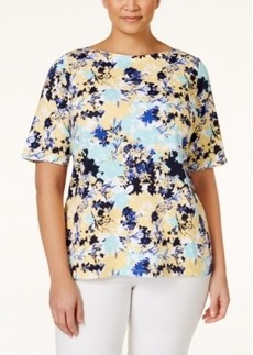 Charter Club Plus Size Printed Top, Only at Macy's
