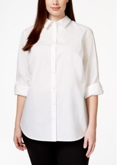 Charter Club Plus Size Tab-Sleeve Shirt, Only at Macy's