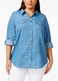 Charter Club Plus Size Roll-Tab-Sleeve Denim Shirt, Only at Macy's