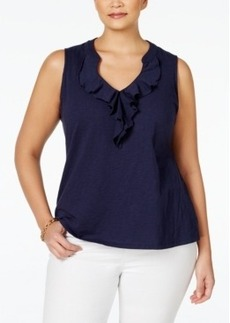 Charter Club Plus Size Ruffle Blouse, Only at Macy's