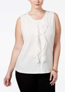 Charter Club Plus Size Ruffled Sleeveless Blouse, Only at Macy's