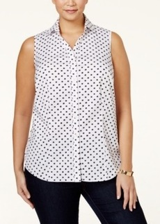 Charter Club Plus Size Star Printed Sleeveless Shirt, Only at Macy's