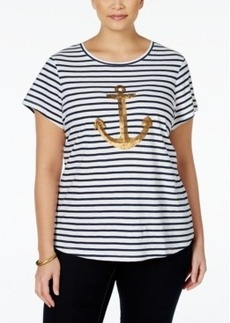 Charter Club Plus Size Striped Anchor-Print T-Shirt, Only at Macy's