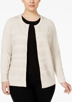 Charter Club Plus Size Striped Cardigan, Only at Macy's