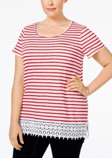 Charter Club Plus Size Striped Crocheted-Hem Top, Only at Macy's