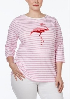 Charter Club Plus Size Striped Graphic T-Shirt, Only at Macy's