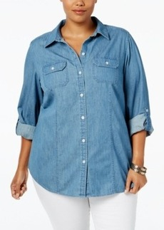 Charter Club Plus Size Tab-Sleeve Denim Chambray Shirt, Only at Macy's
