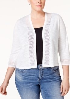 Charter Club Plus Size Crochet-Trim Cardigan, Only at Macy's