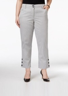 Charter Club Plus Size Tummy-Control Button-Hem Capri Pants, Only at Macy's