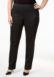 Charter Club Plus Size Tummy-Control Plaid Pull-On Pants, Only at Macy's
