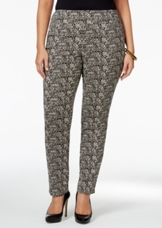 Charter Club Plus Size Tummy-Control Pull-On Printed Pants, Only at Macy's