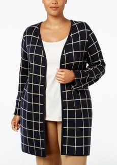 Charter Club Plus Size Milano Windowpane Cardigan, Only at Macy's