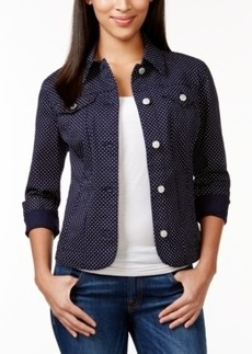 Charter Club Polka-Dot-Print Denim Jacket, Only at Macy's