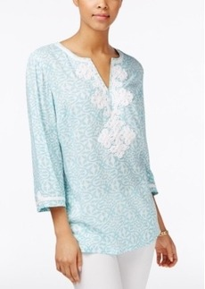 Charter Club Printed Embroidered Tunic, Only at Macy's