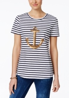 Charter Club Sequin-Anchor Striped Tee, Only at Macy's