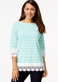 Charter Club Striped Crochet-Trim Top, Only at Macy's