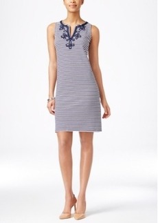 Charter Club Petite Sleeveless Embroidered Dress, Only at Macy's