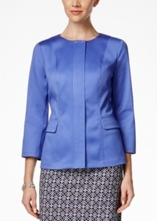 Charter Club Three-Quarter-Sleeve Front-Zip Blazer